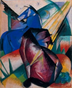Cavall roig i cavall blau